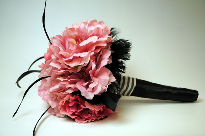 Pink Peony Feather Bouquet
