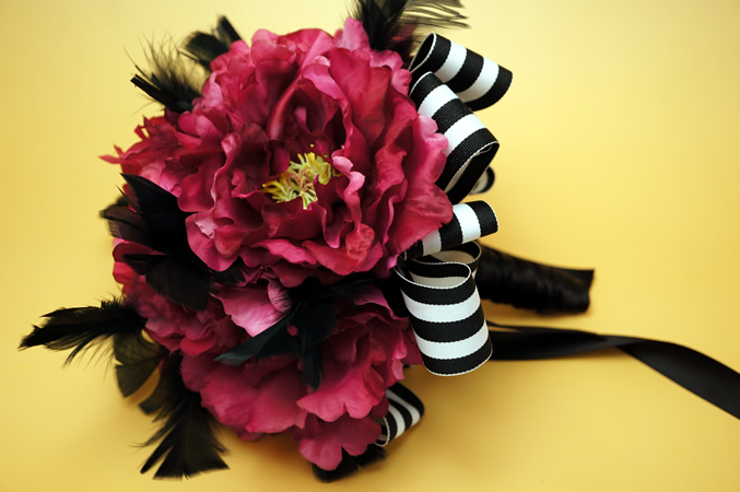 Hot Pink Penoy & Feather Bouquet